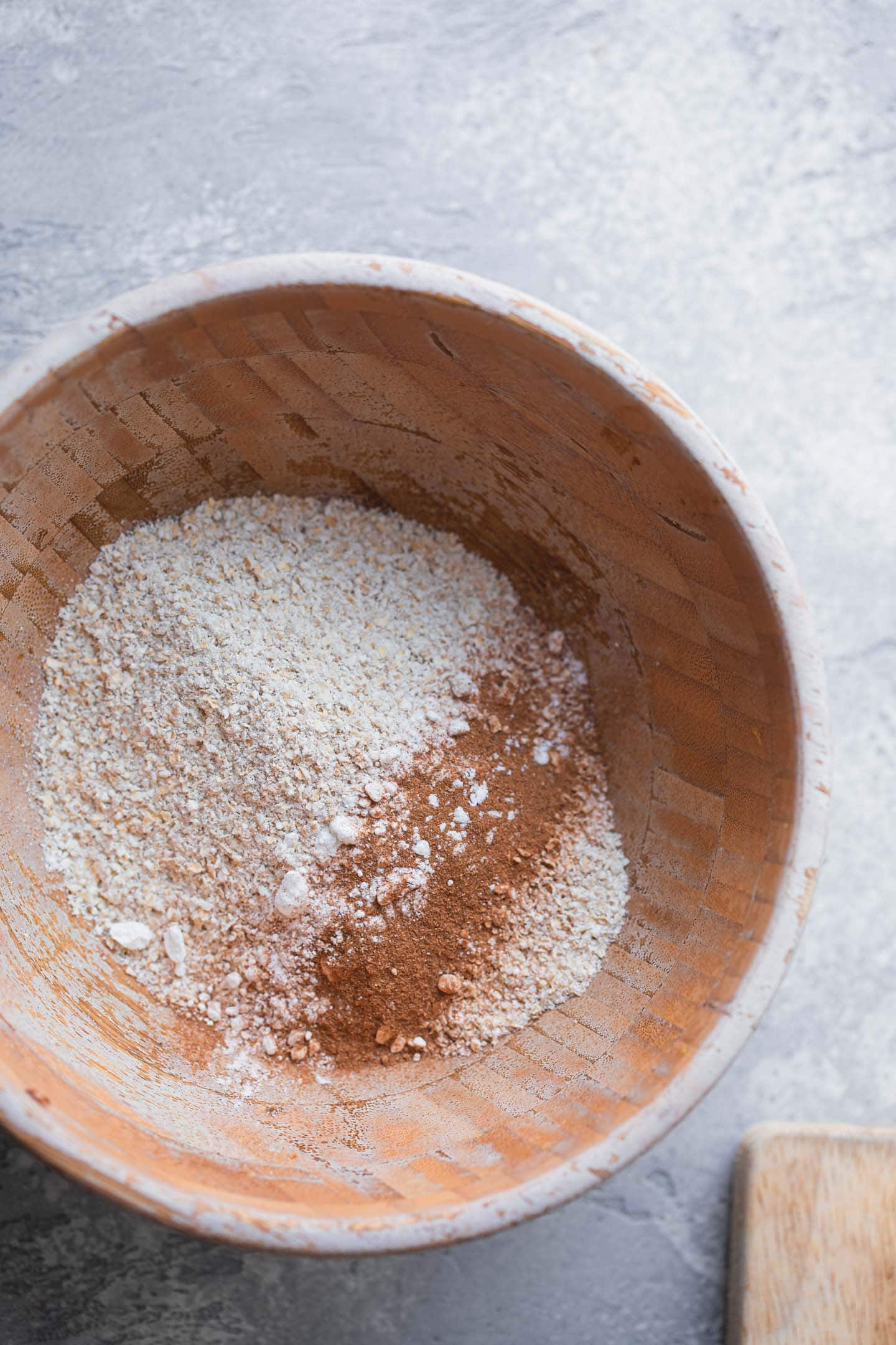 Dry ingredients for pancakes in a mixing bowl