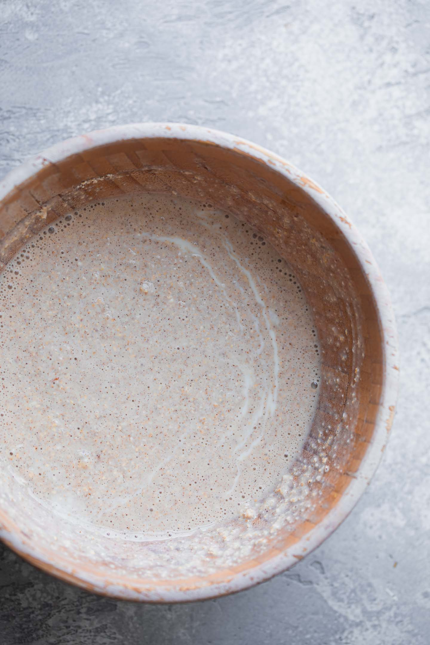 Pancake batter in a mixing bowl