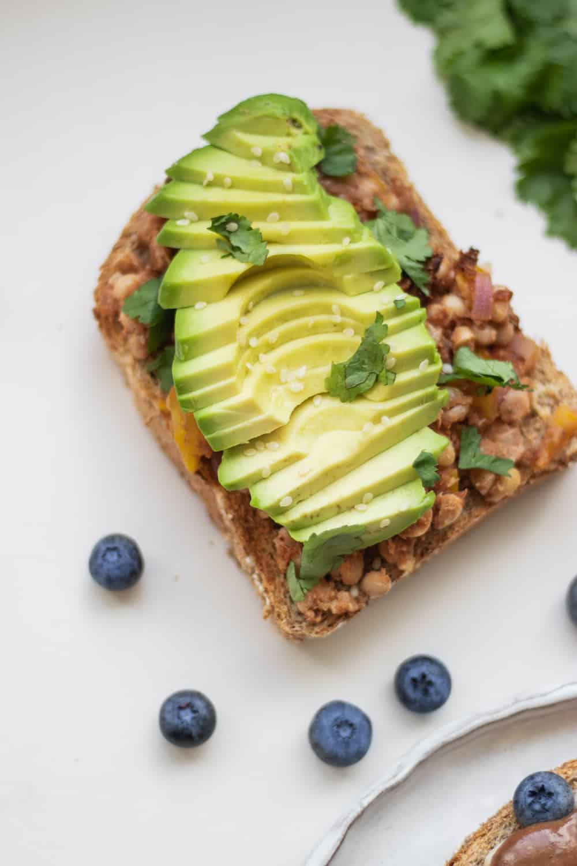Vegan avocado on toast with an easy bean spread