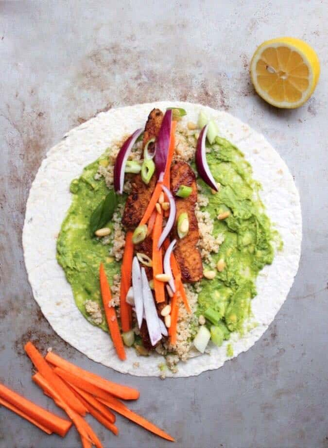 BBQ tempeh and quinoa wrap