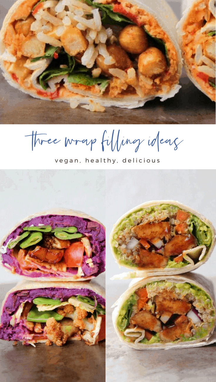 Three vegan wrap filling ideas - easy and delicious! Get the recipes on earthofmaria.com