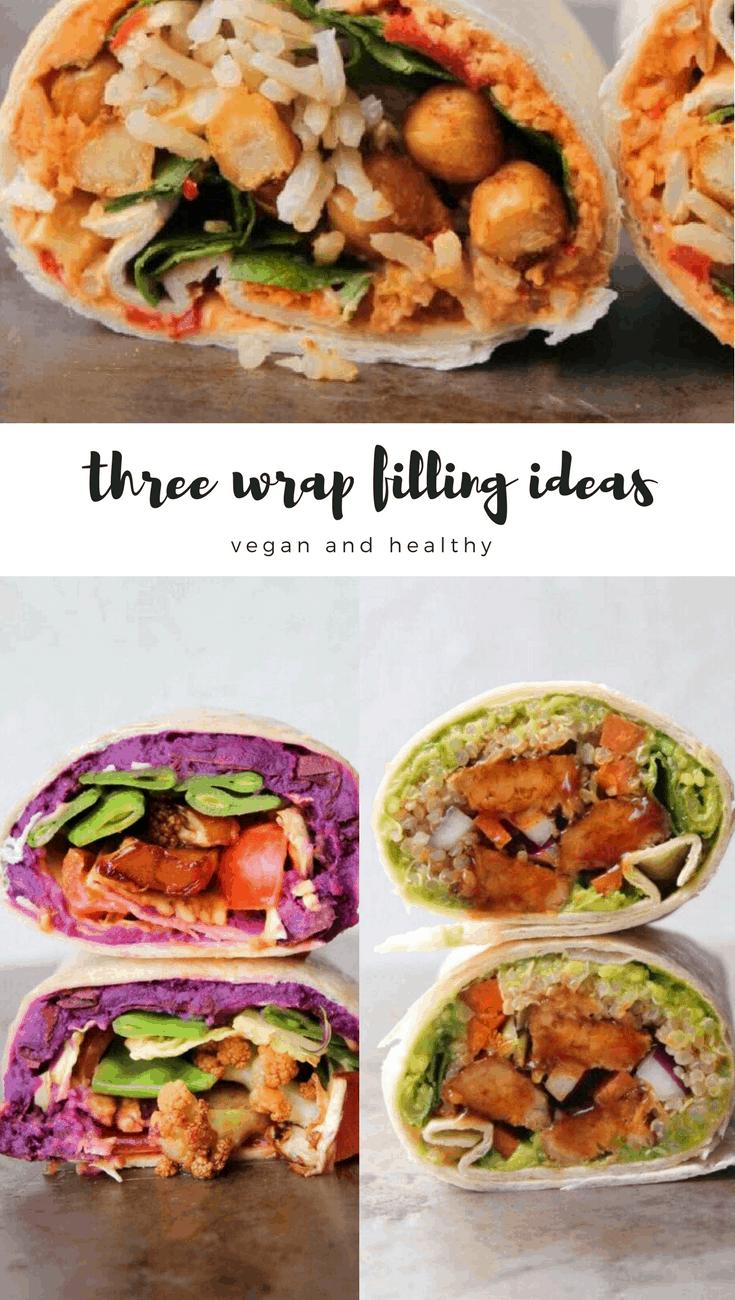 Three vegan and healthy wrap filling ideas