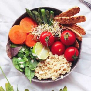 Tempeh and Couscous Buddha Bowl With a Lemony Tahini Dressing