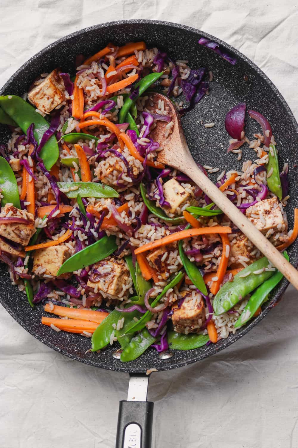 Gluten-free vegan stir-fry with tofu and vegetables