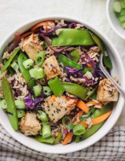 Almond tofu rice stir-fry with vegetables