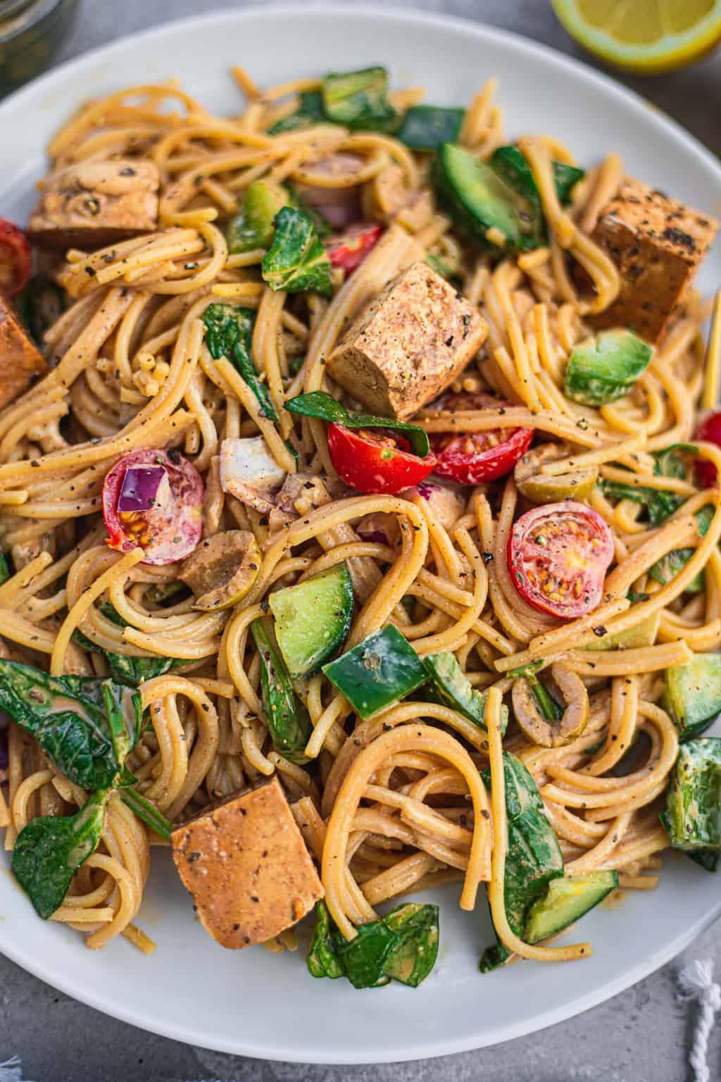 Closeup of vegan pasta with tofu