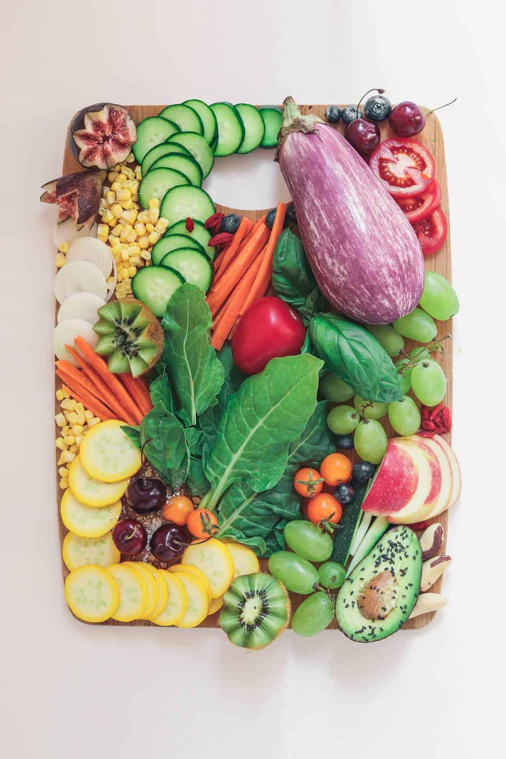 Big platter with fresh fruits and vegetables