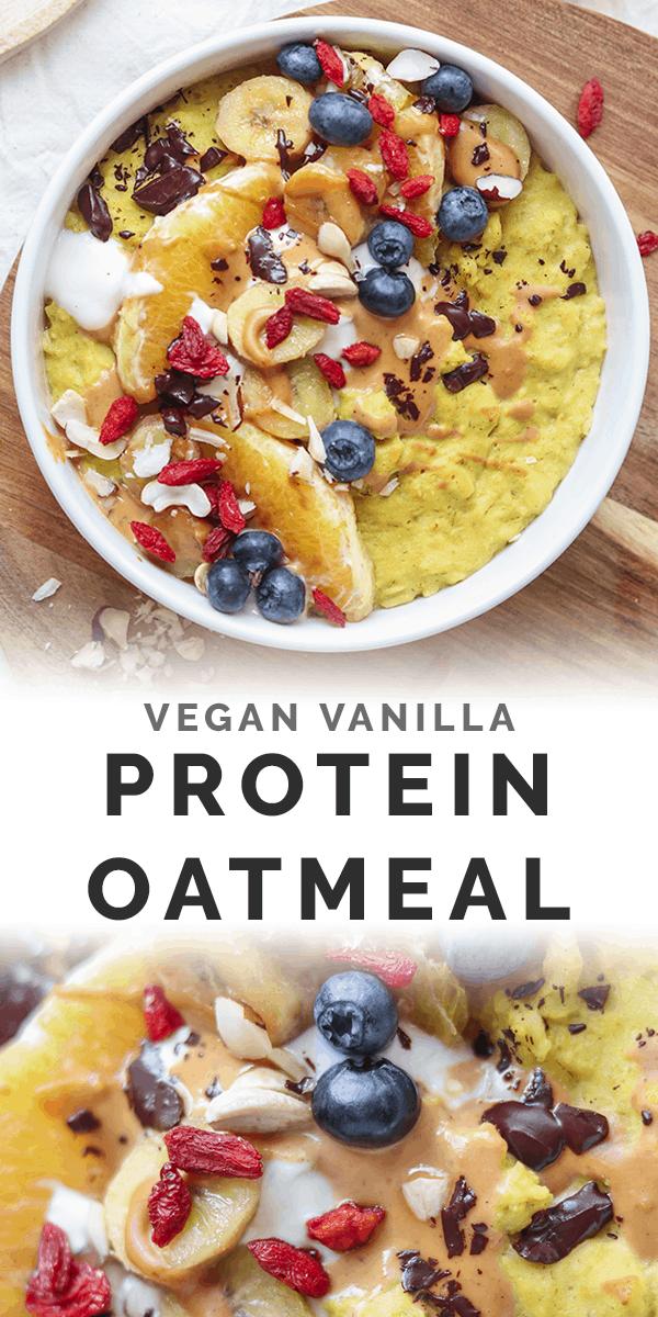 Vegan vanilla protein oatmeal long Pinterest image