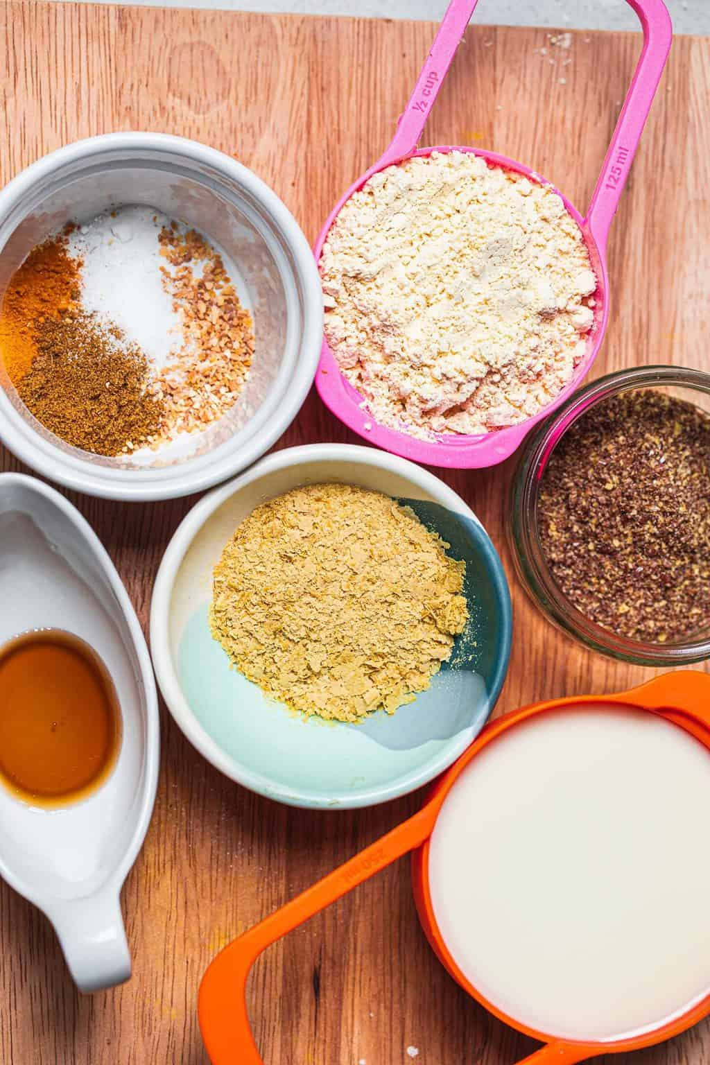 Ingredients for a vegan chickpea omelette
