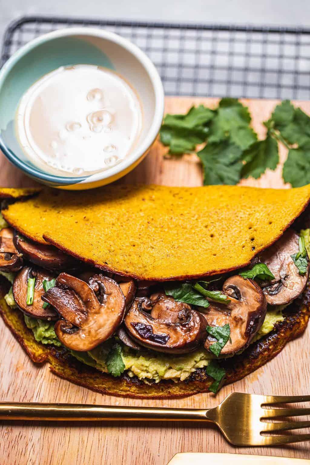 Vegan omelette with mushrooms