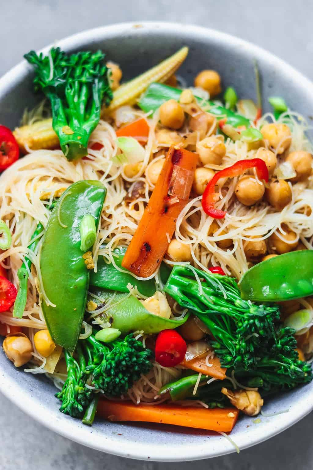 Vegan chickpea stir-fry with noodles and vegetables