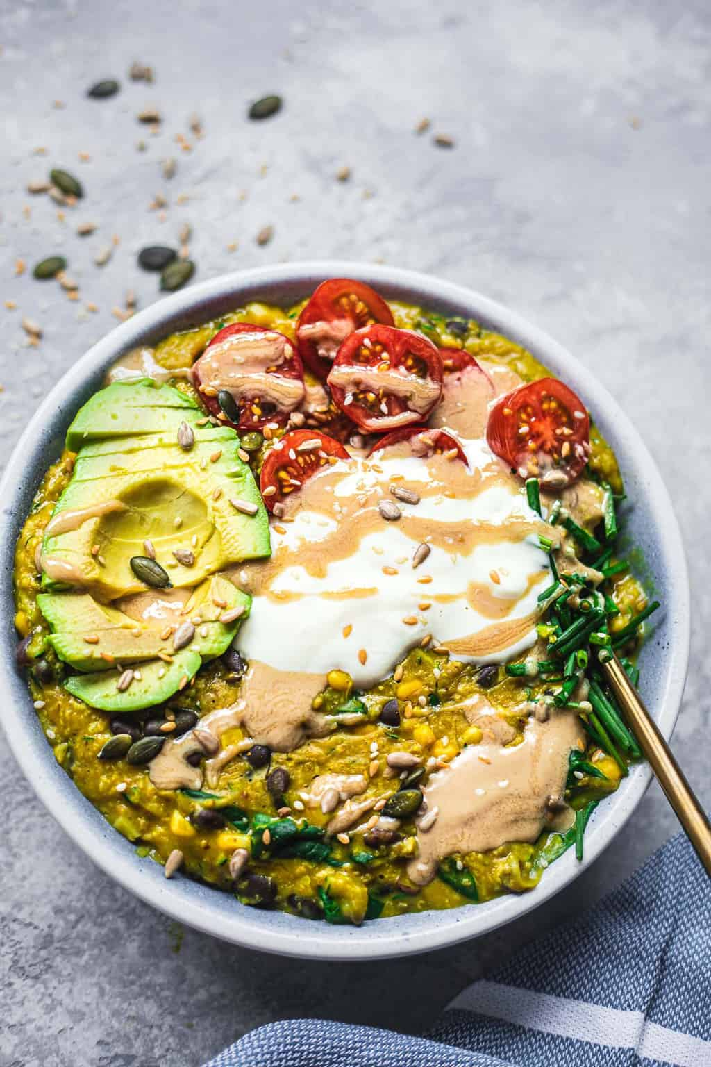 Vegan turmeric oats with black beans and zucchini