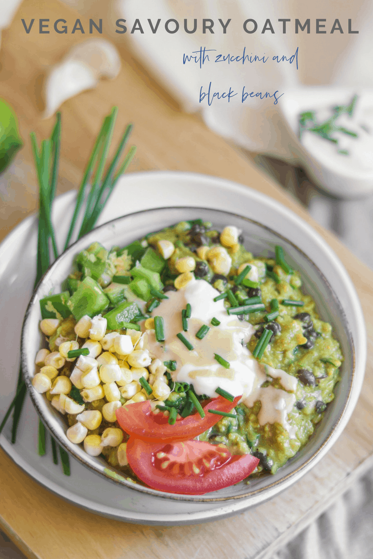 Vegan savoury oatmeal with zucchini and black beans recipe