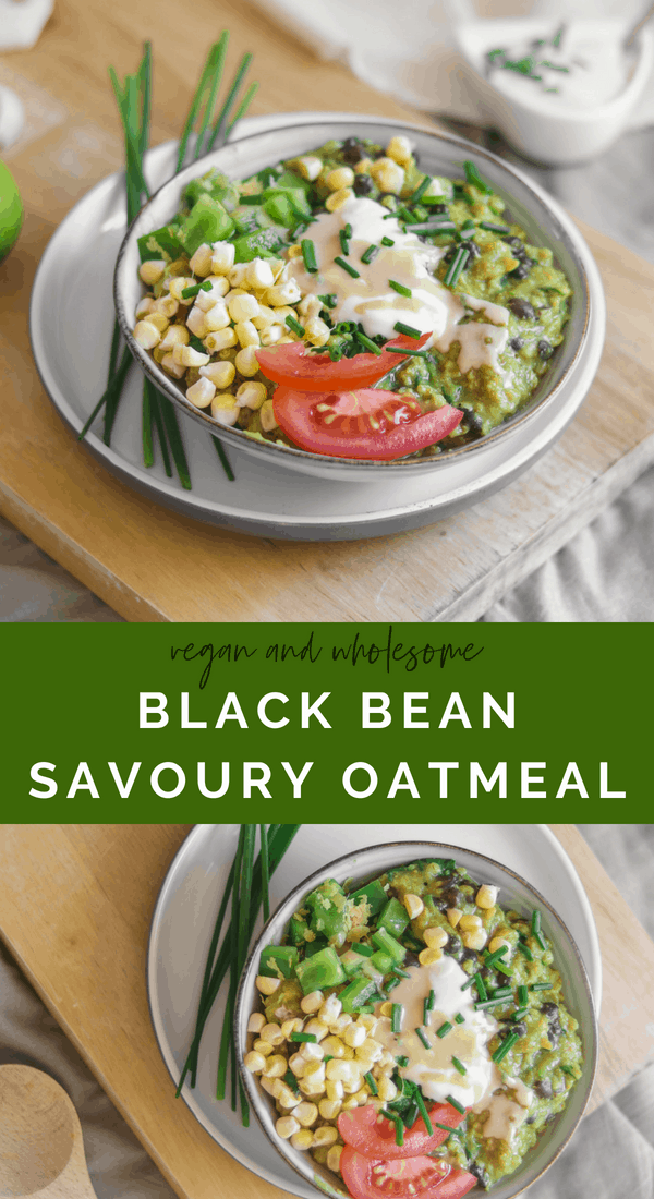 Vegan and wholesome black bean savoury oatmeal recipe with zucchini and turmeric