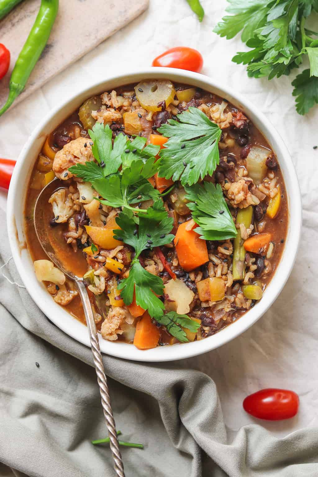Easy Vegetable Rice Soup With Black Beans Vegan Earth Of Maria