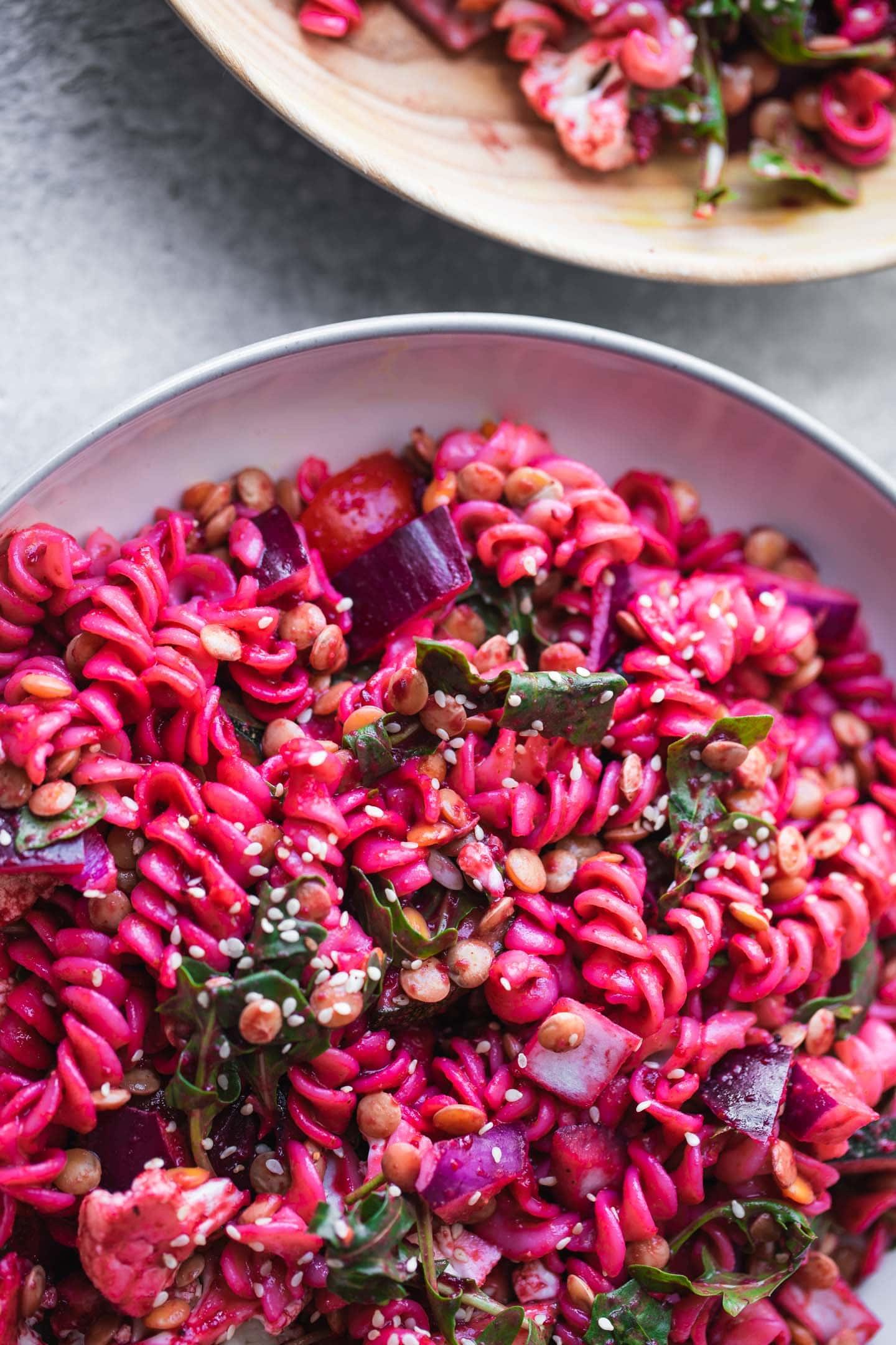 Bowl of vegan pasta salad with green lentils