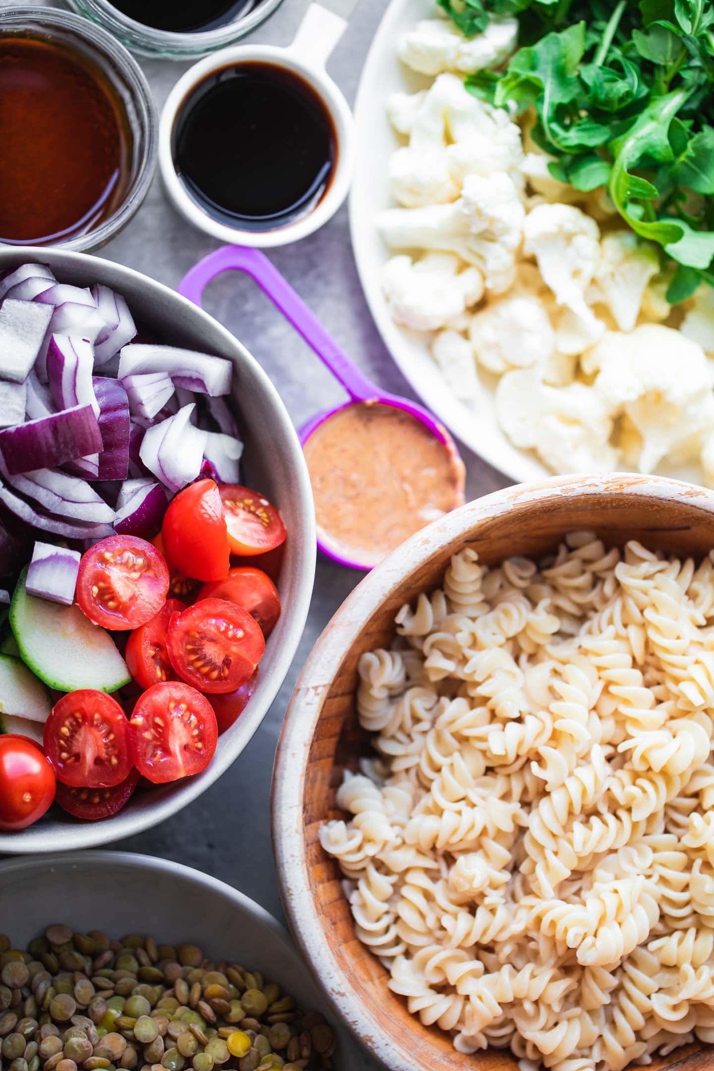 Ingredients for vegan beetroot pasta salad