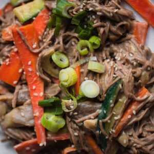 Miso Tahini Soba Noodle Stir-fry With Oyster Mushrooms-15