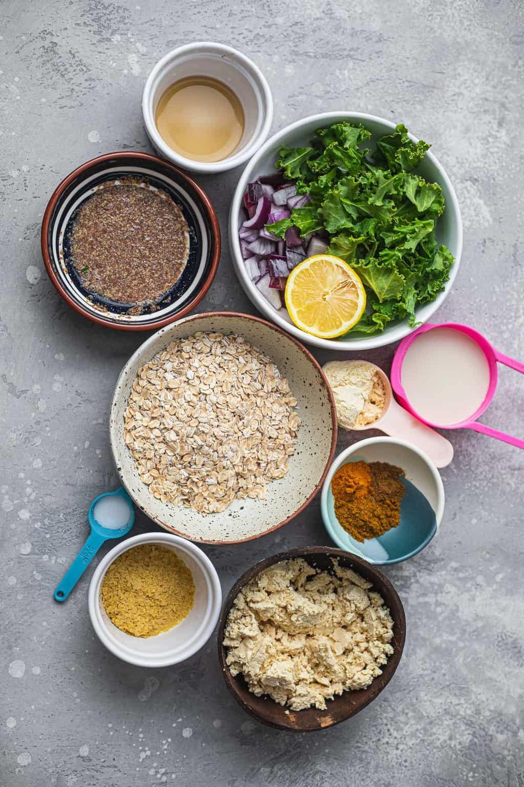 Ingredients to make vegan breakfast muffins