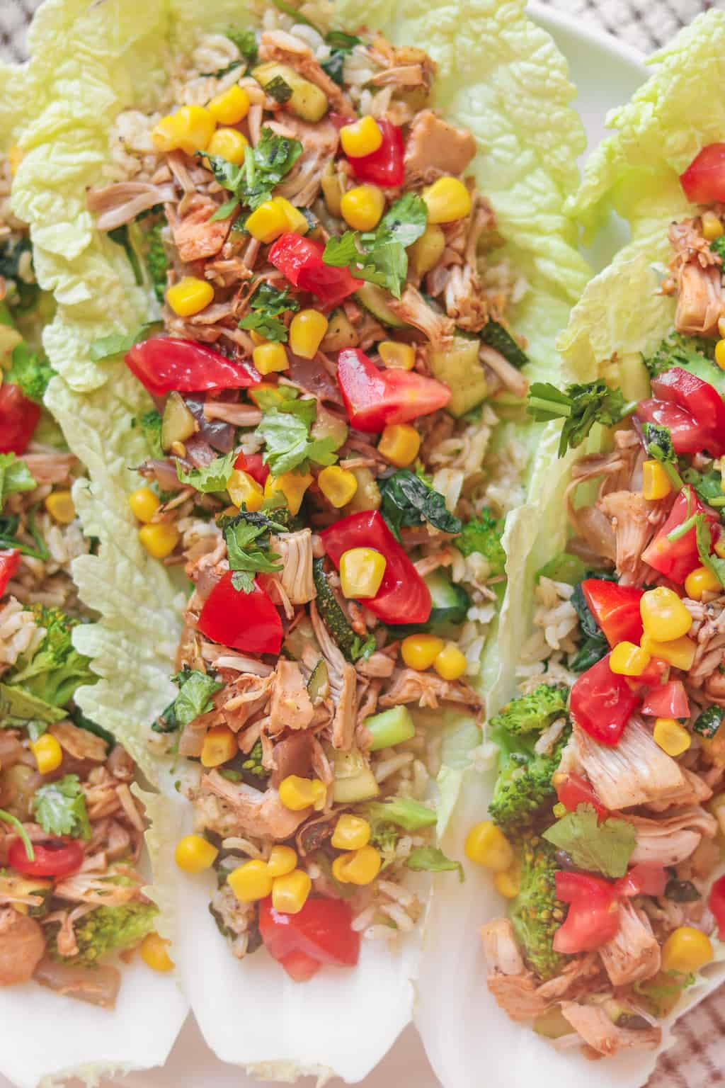 Closeup of vegan lettuce wraps with jackfruit, brown rice and fresh vegetables
