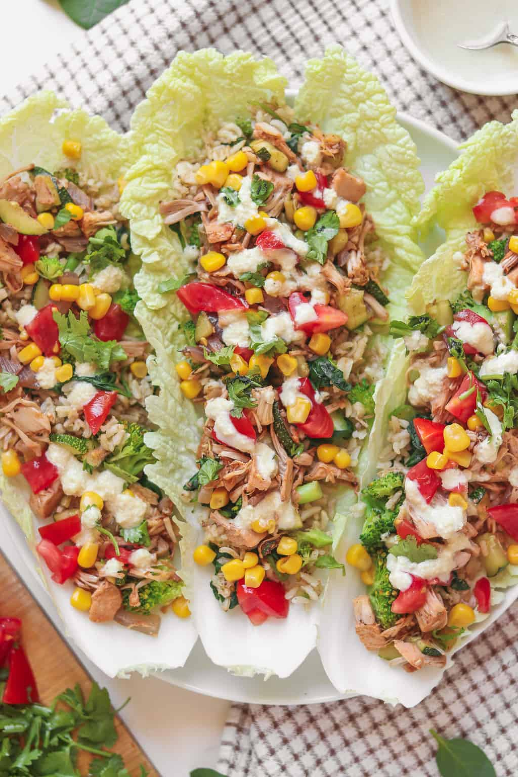 Jackfruit and brown rice vegan lettuce wraps with an oil-free cashew dressing