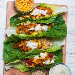 Vegan lettuce wraps with jackfruit