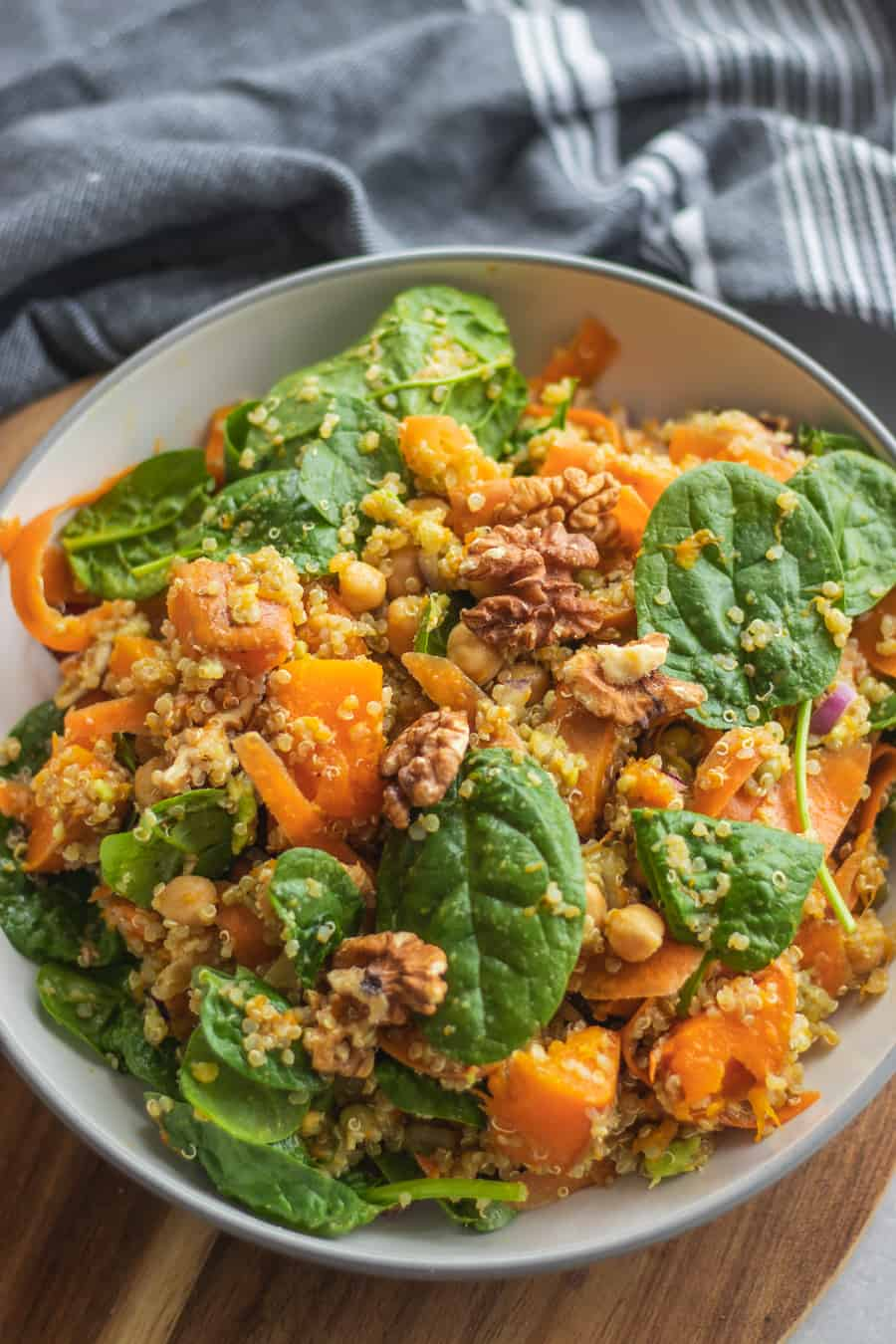 Closeup of chickpea pumpkin salad with quinoa and chickpeas
