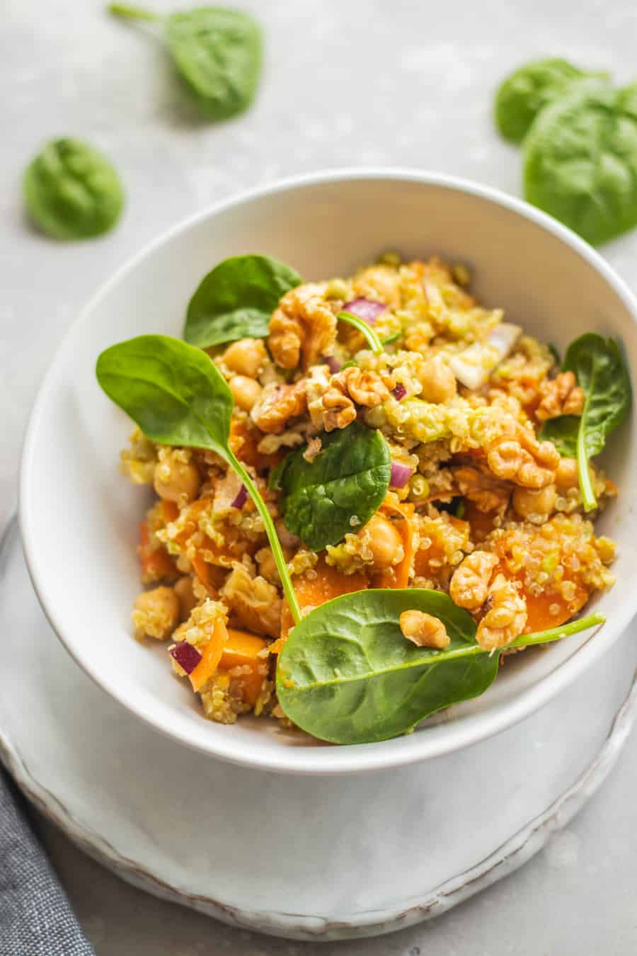 Vegan autumn salad with pumpkin, quinoa and chickpeas