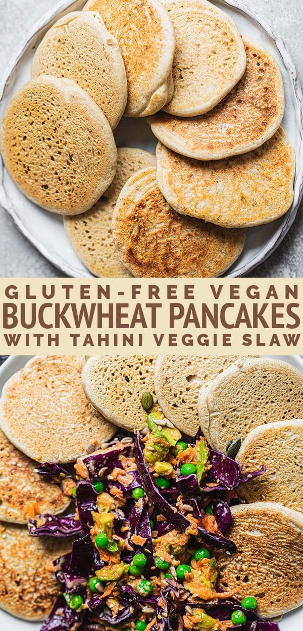 Gluten-free vegan buckwheat pancakes with tahini veggie slaw