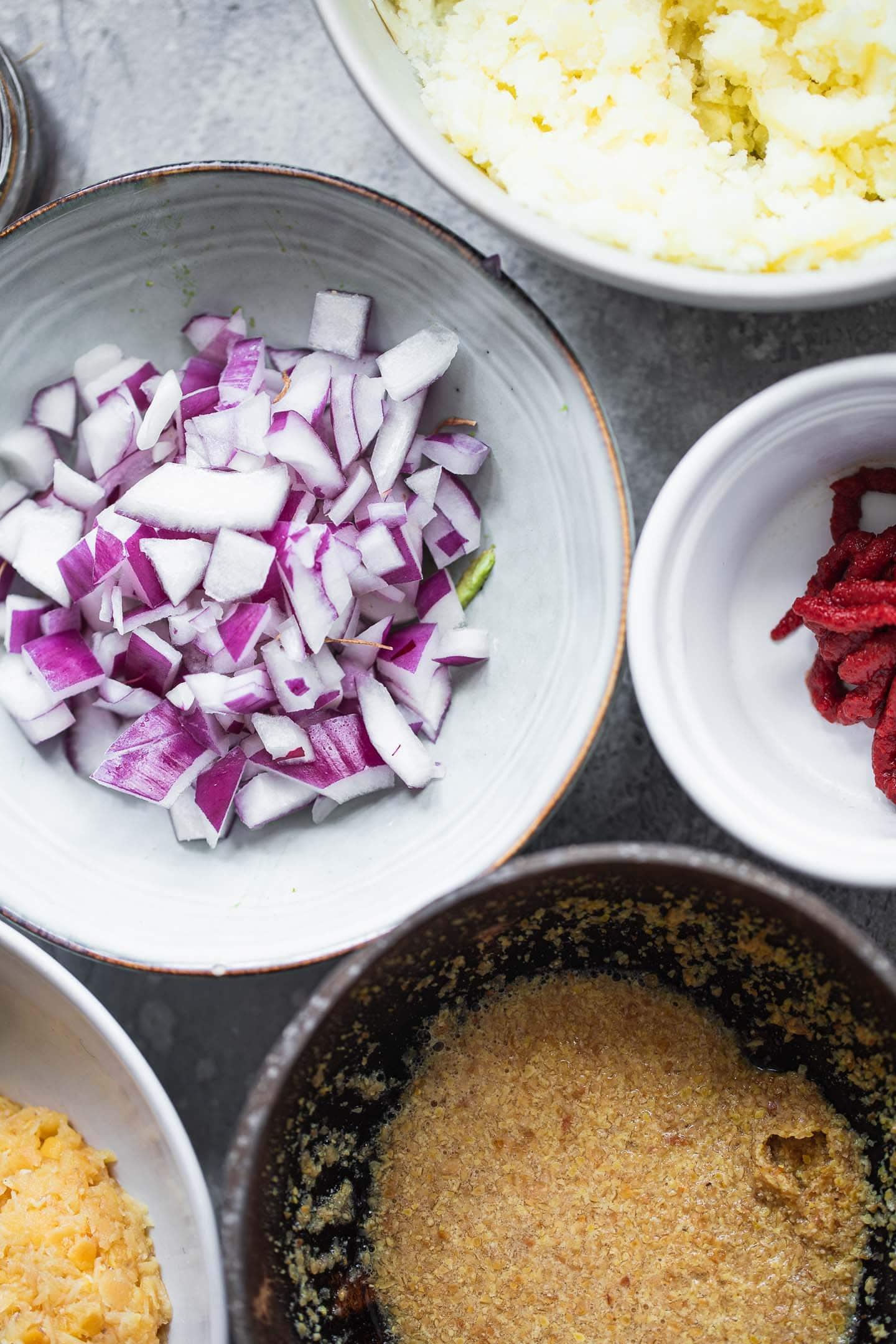 Ingredients for vegan lentil meatballs