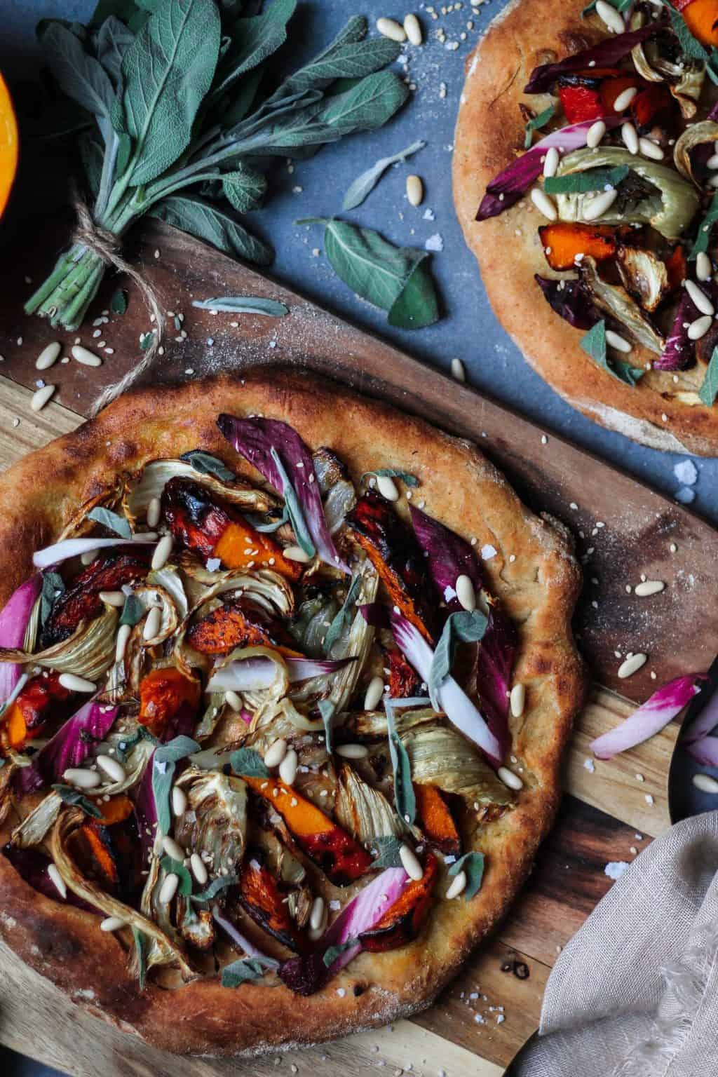 Pumpkin, fennel and endive pizza Two Spoons