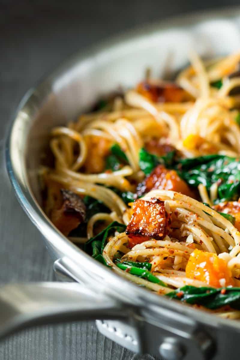 Pumpkin, spinach and walnut spaghetti Lazy Cat Kitchen