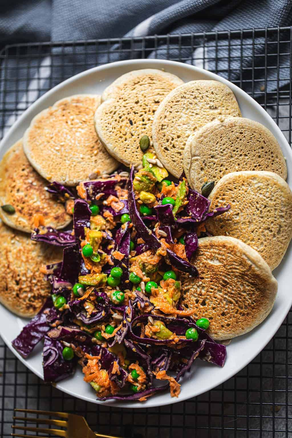 Vegan buckwheat pancakes with tahini veggie slaw gluten-free