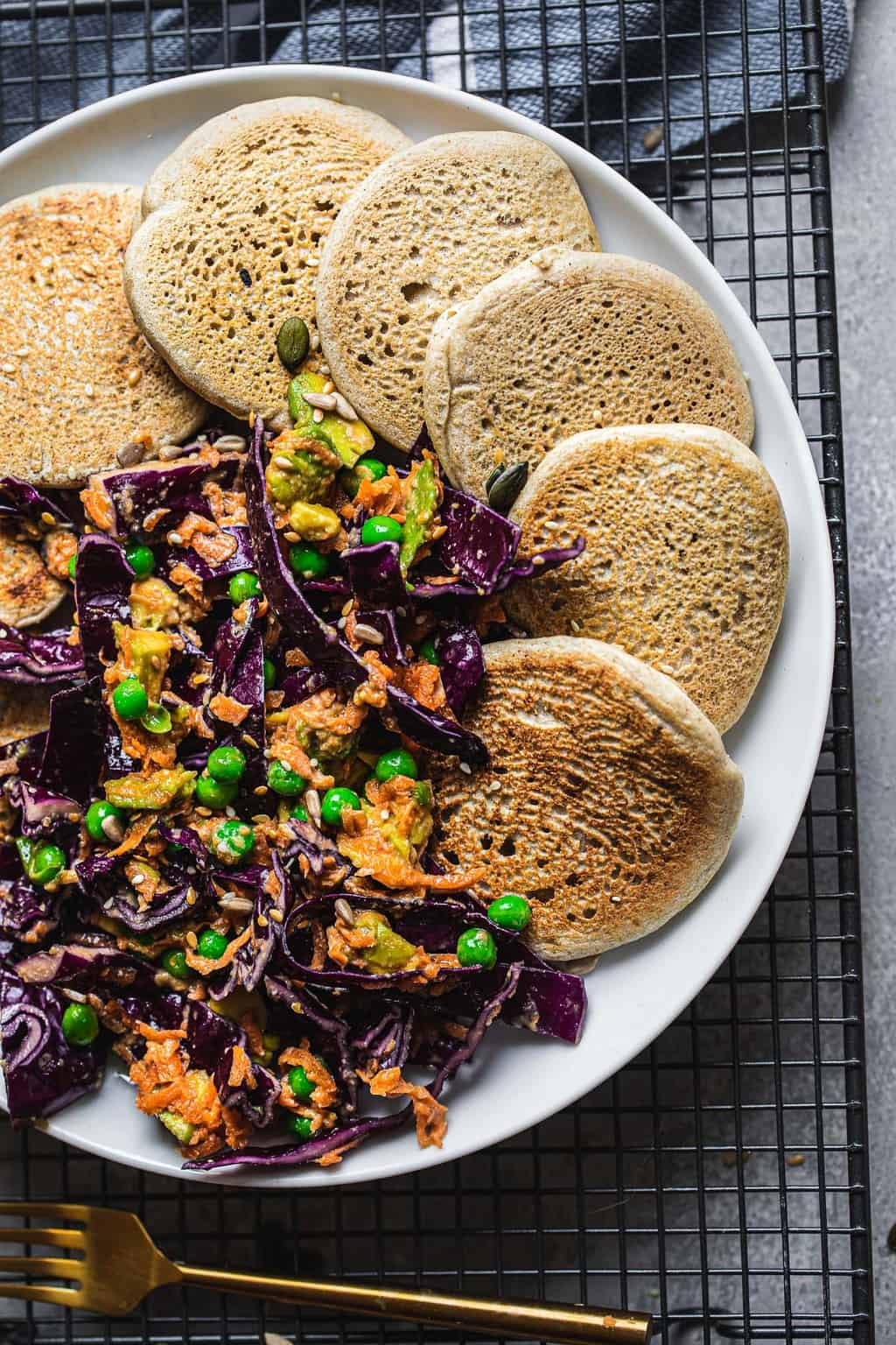 Vegan Buckwheat Pancakes With Tahini Veggie Slaw Earth Of Maria
