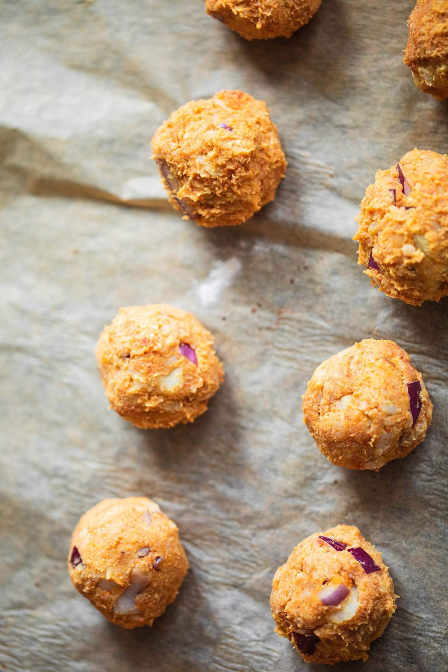 Vegan meatballs on a baking tray