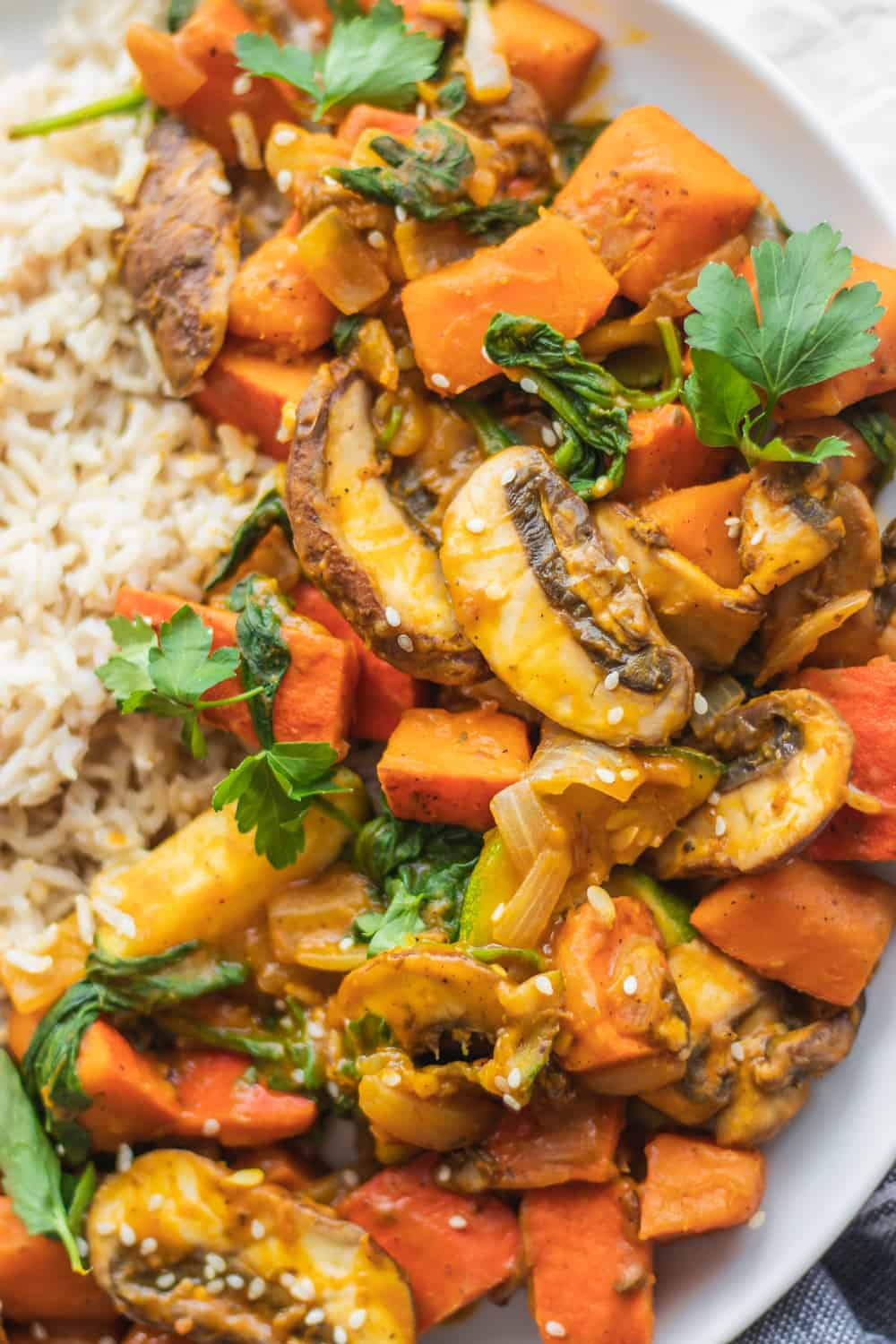 Gluten-free vegan pumpkin stir-fry with seasonal vegetables
