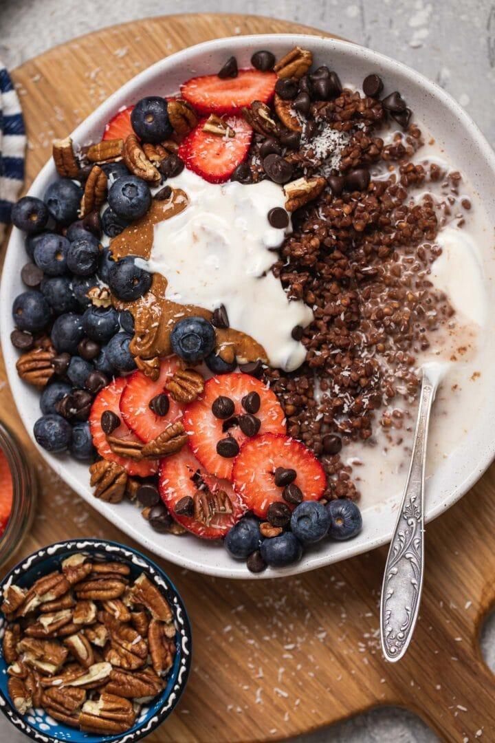 Chocolate buckwheat porridge vegan gluten-free