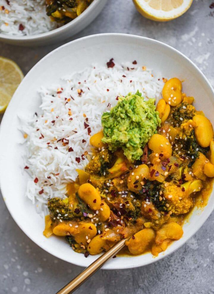 Vegan butter bean sweet potato stew