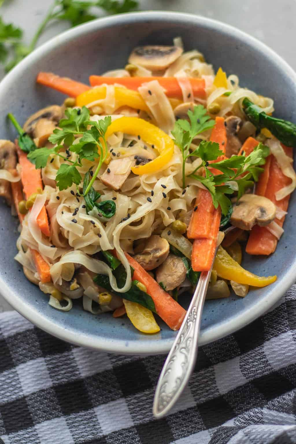 Vegan mushroom and vegetable stir-fry with peppers and carrots