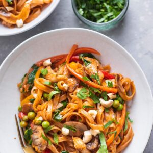 Vegan coconut vegetable noodle stir-fry