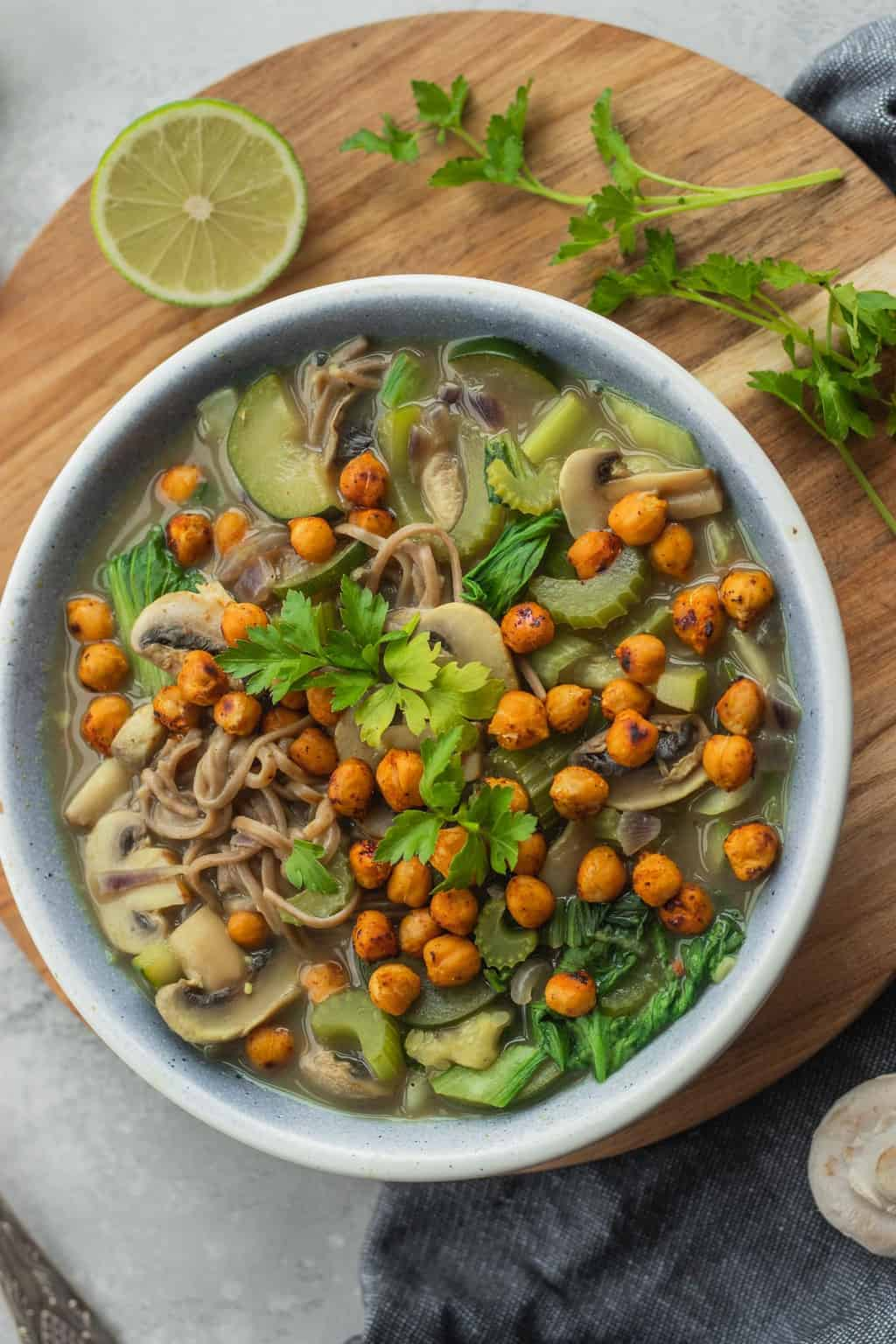Vegan noodle soup with roasted chickpeas