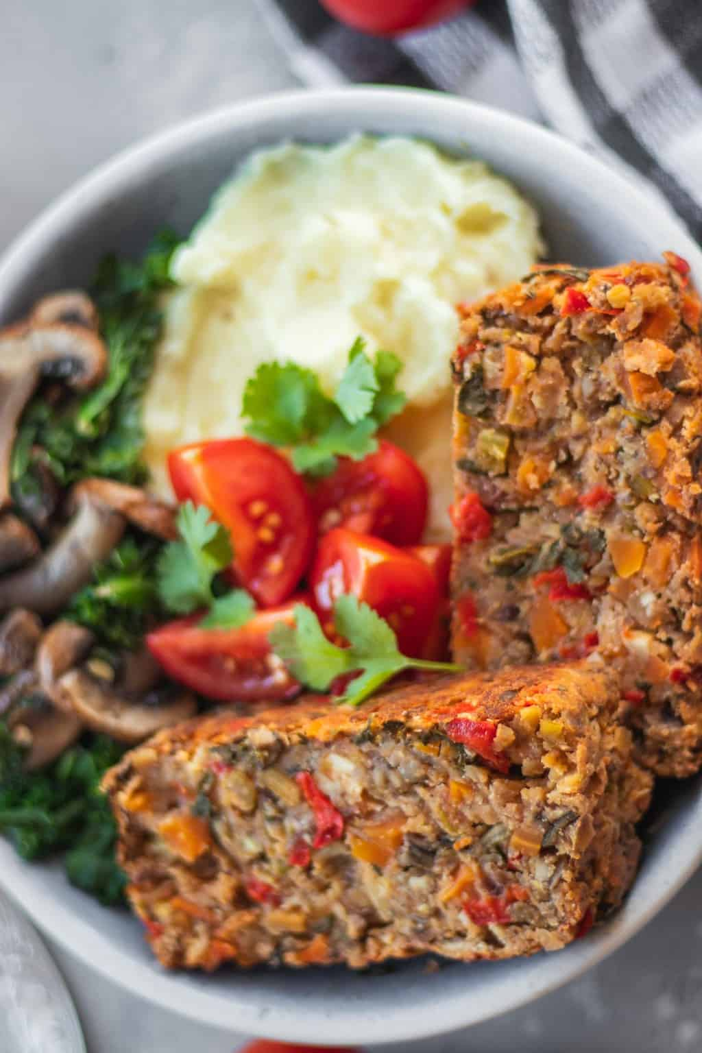 Nut-free gluten-free vegan lentil loaf for Christmas or Thanksgiving