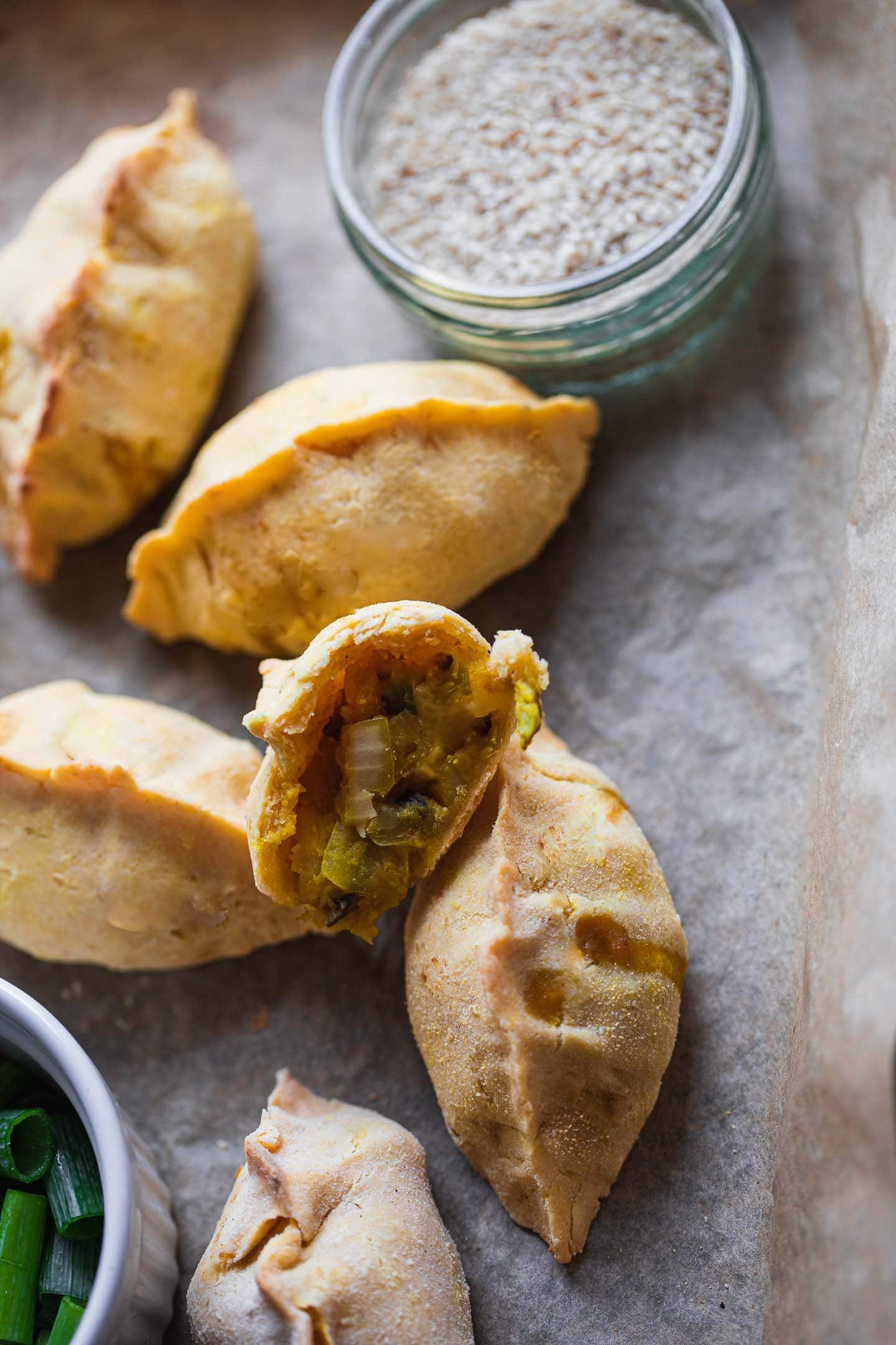 Gluten-free vegan piroshki with mushrooms and potatoes