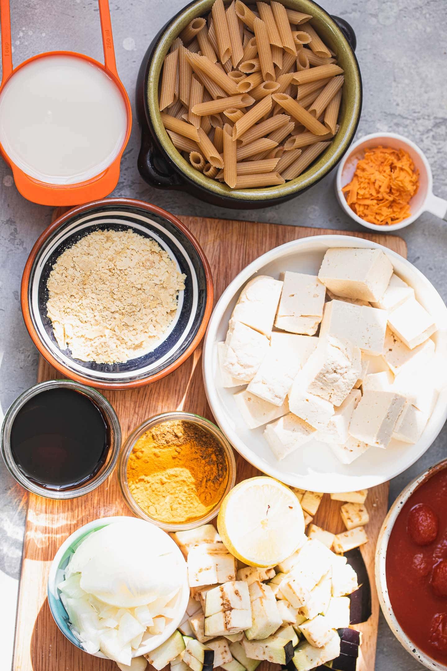 Ingredients for a vegan pasta bake