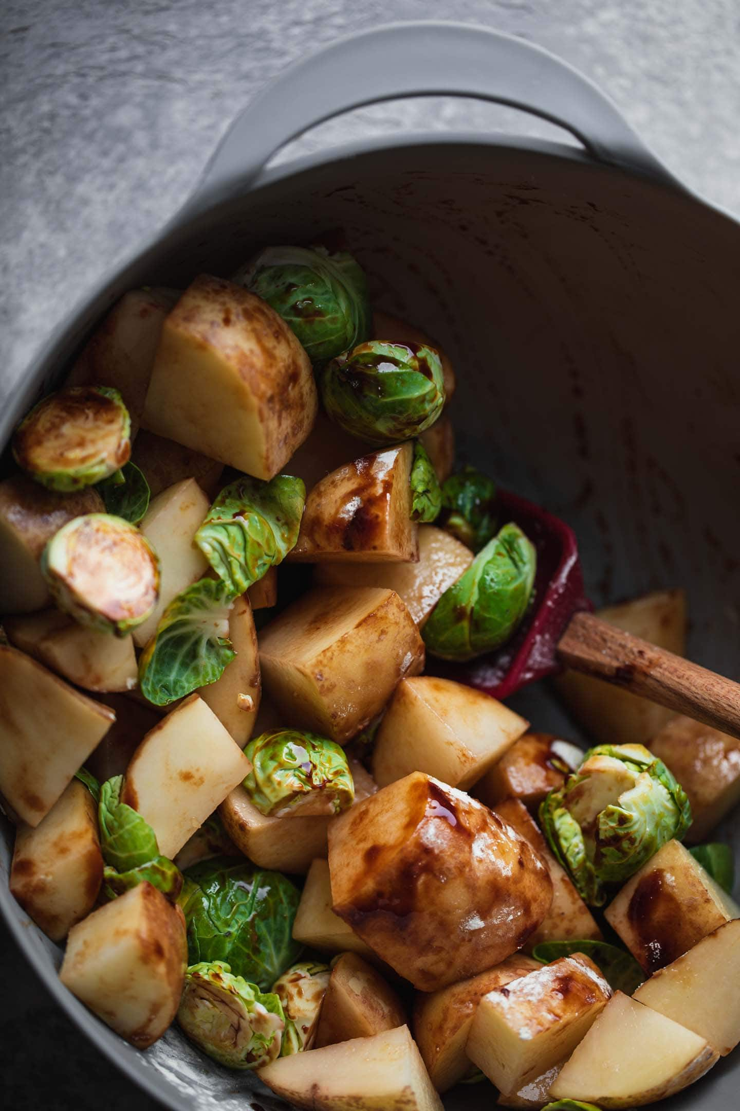 Mixing bowl with potatoes and Brussels sprouts