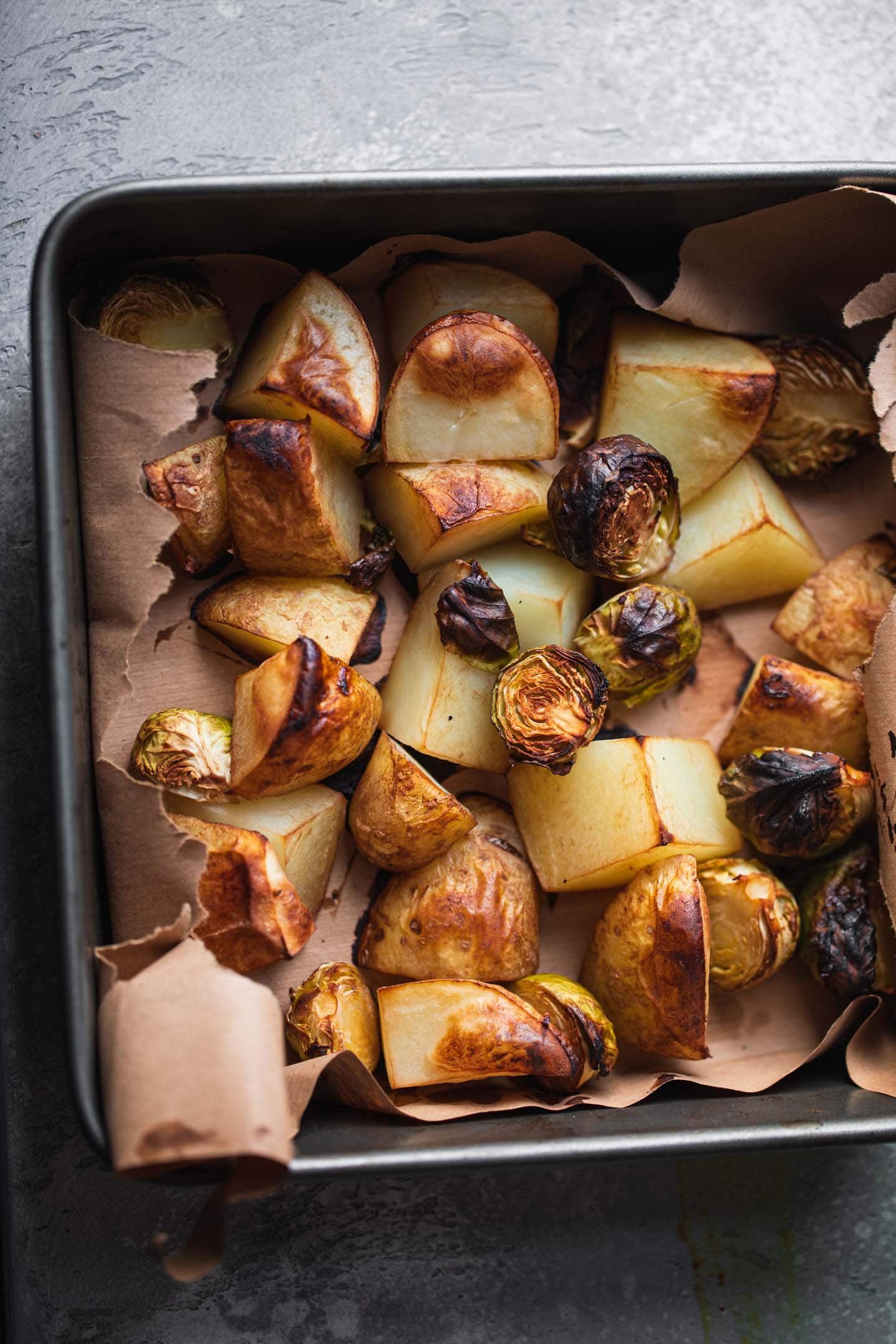 Roasted vegetables in a baking dish