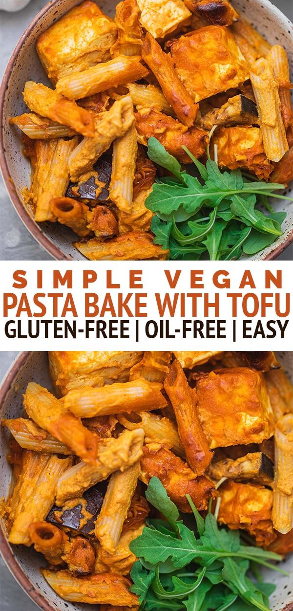 Simple vegan pasta bake with tofu
