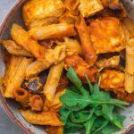 Simple vegan pasta bake with tofu gluten-free