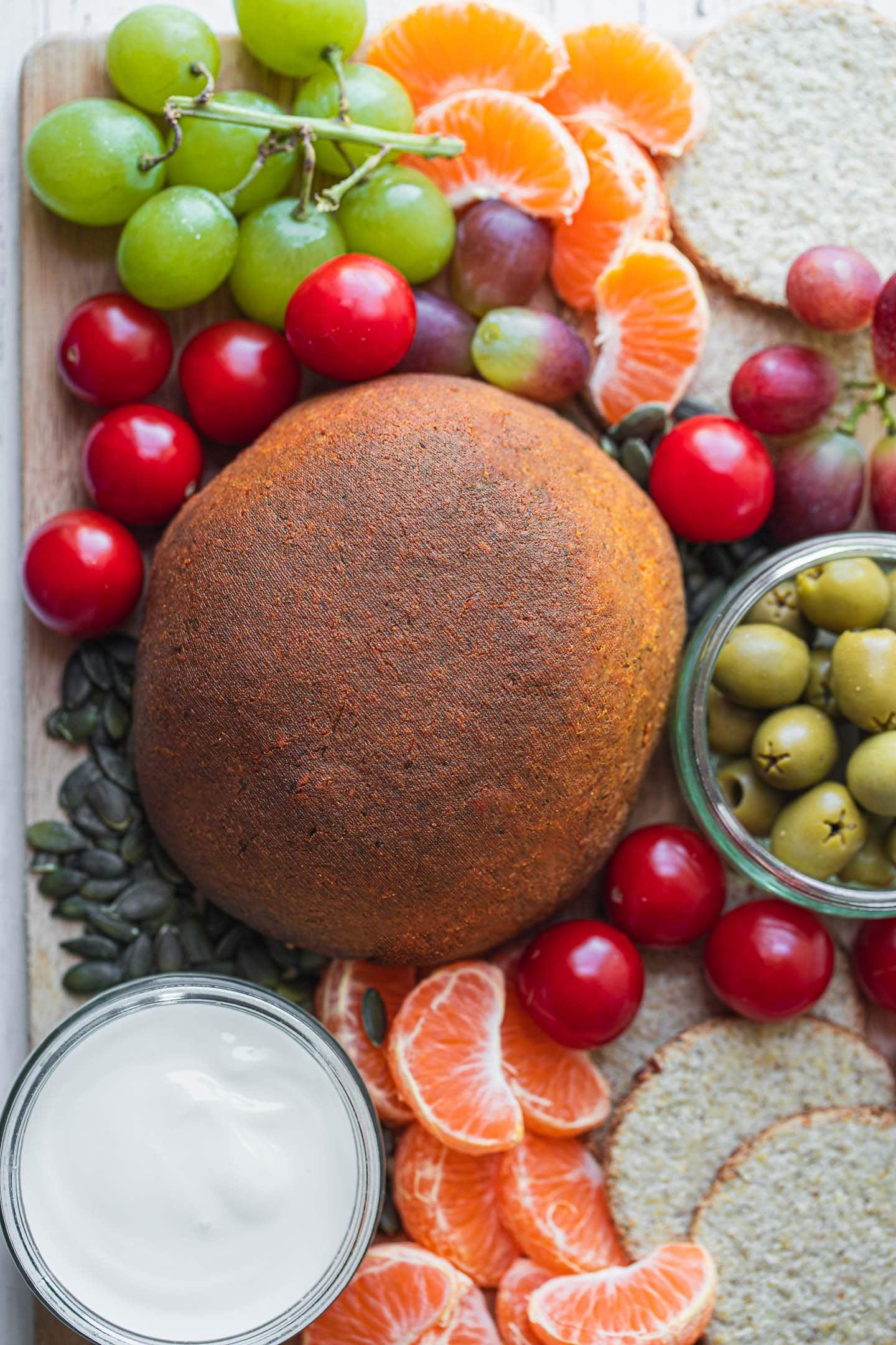 Fruit vegetables and vegan cheese platter