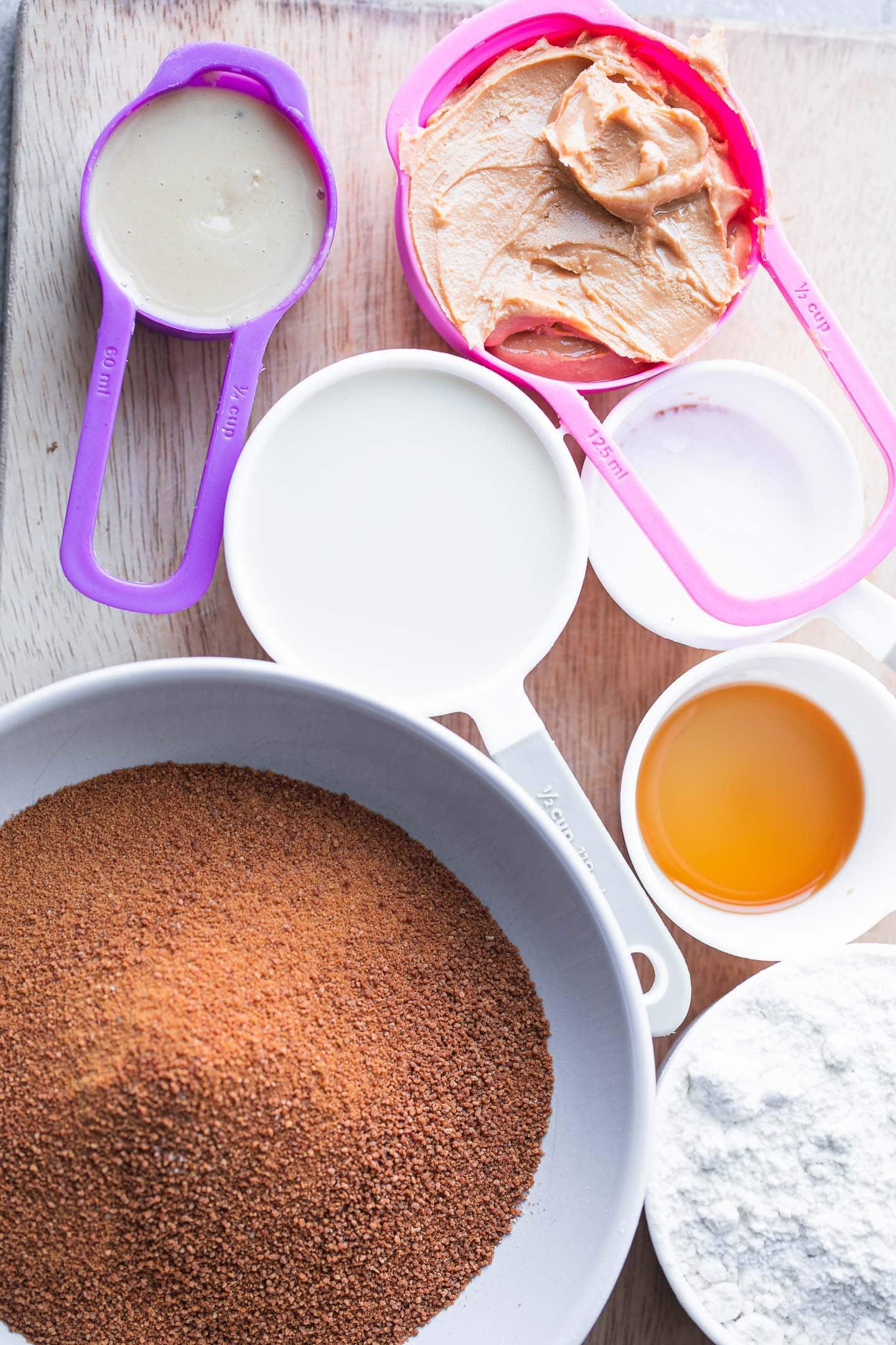 Ingredients for peanut butter tahini cookies